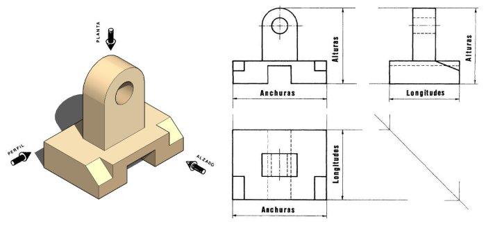 Vistas de piezas dibujo t cnico for Plano de planta dibujo tecnico