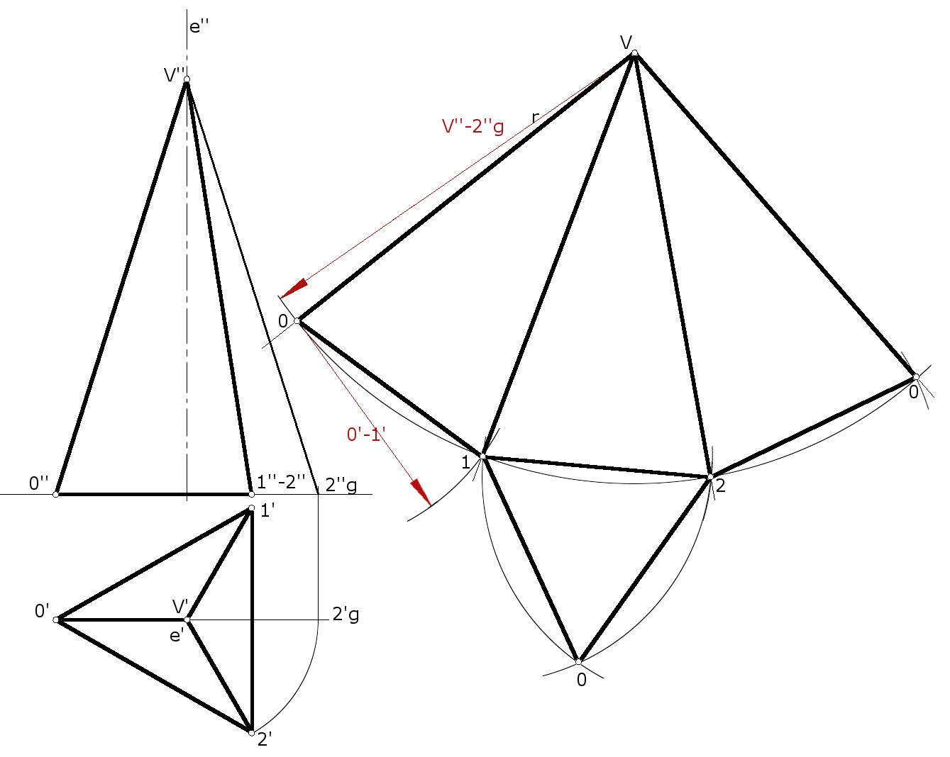 3. Desarrollo de una pirámide recta