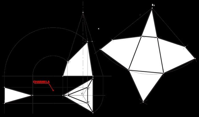 1. Sección y desarrollo de una pirámide